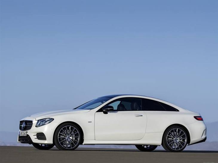 The Side of a Mercedes-Benz E Class Coupe in White