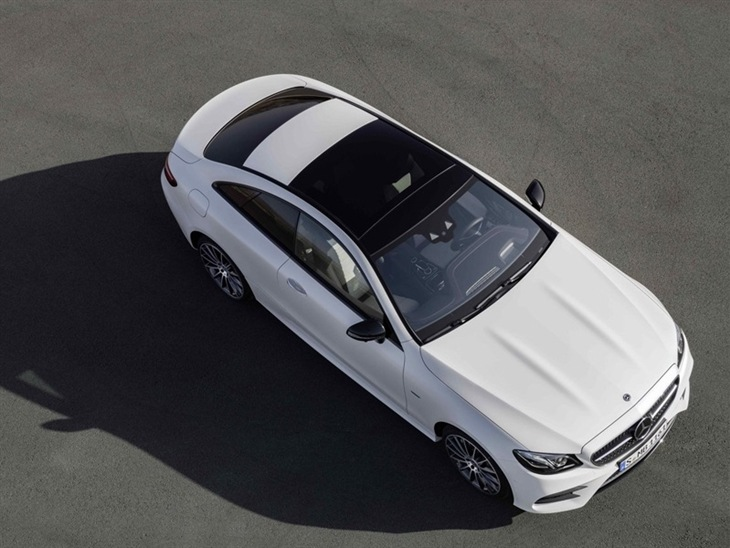 The Top of a Mercedes-Benz E Class Coupe in White
