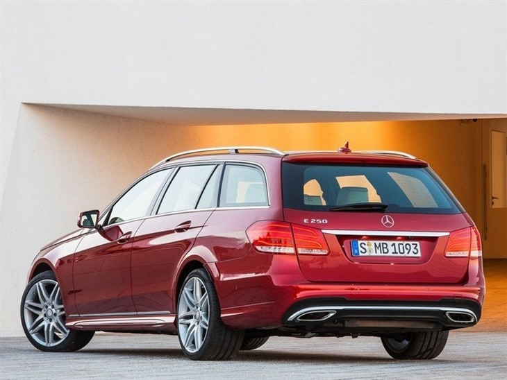 The Back of a Mercedes Benz E Class Estate in Red