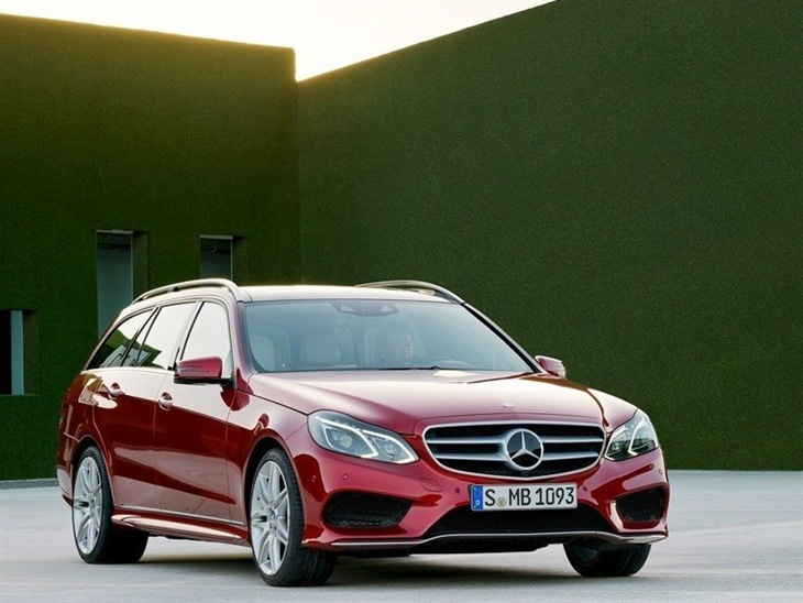 The Front of a Mercedes Benz E Class Estate in Red