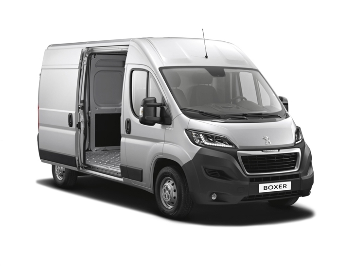 silver peugeot boxer van lease on white background