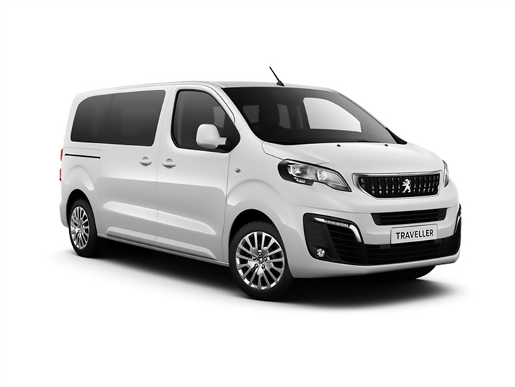 white peugeot traveller active standard van lease on white background
