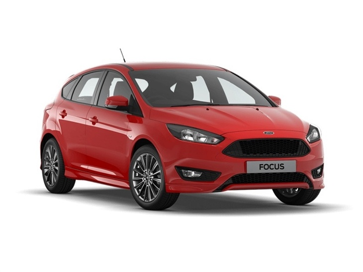 The Front of  a Red Ford Focus ST line