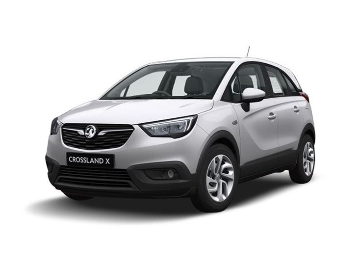 silver vauxhall crossland x se car lease on white background