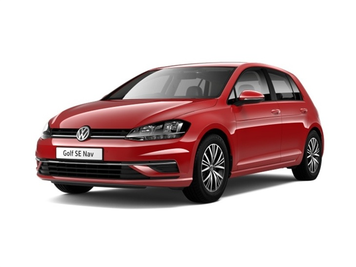 The exterior of a Red Volkswagen Golf SE Nav