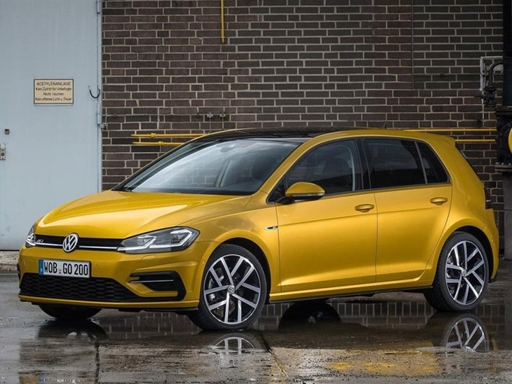 The Front Exterior View of a Gold Golf R