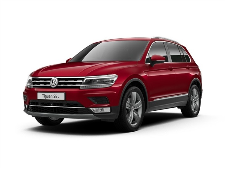 The Exterior View of a Red Volkswagen Tiguan SEL