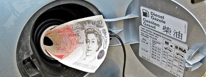 £50 note in a petrol tank