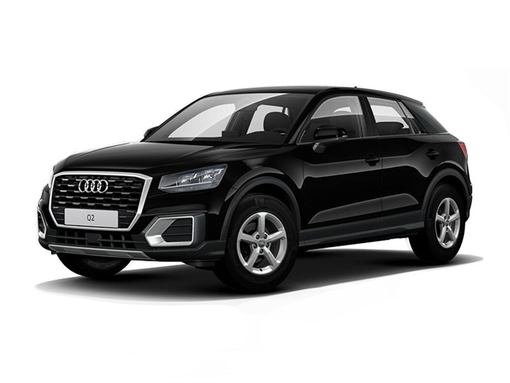 black audi q2 se with white background available to lease