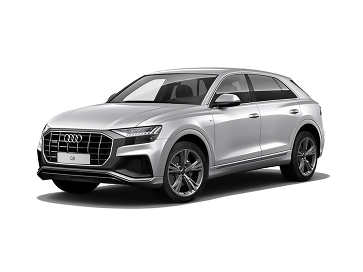 Audi Q8 S Line in Silver Front Left View