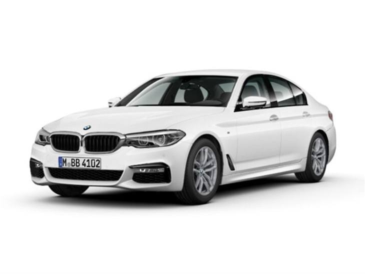 BMW 5 Series Saloon M Sport in Alpine White front left view