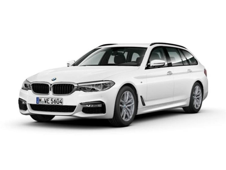 BMW 5 Series Tourer M Sport in white front Left view