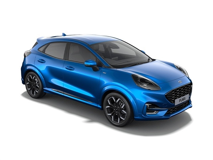 Ford Puma ST-Line X in Desert Blue front right view