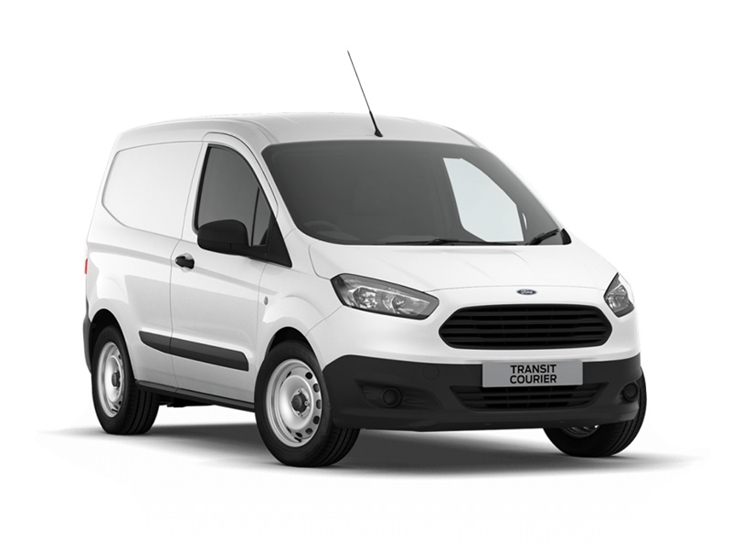 white ford transit courier van on white background available to lease