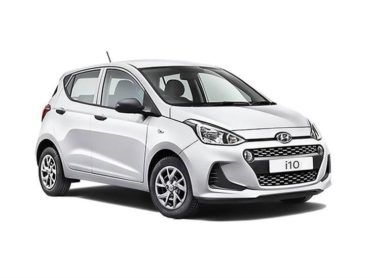 white hyundai i10 s car on white background available to lease