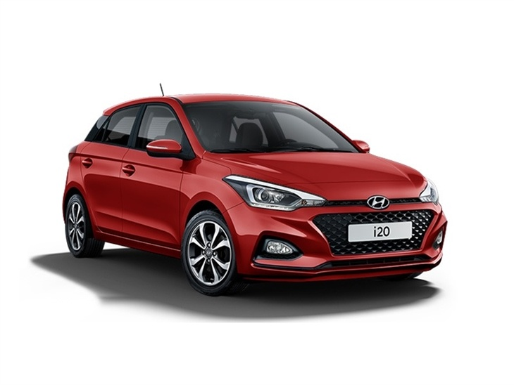 red hyundai i20 se car on white background available to lease