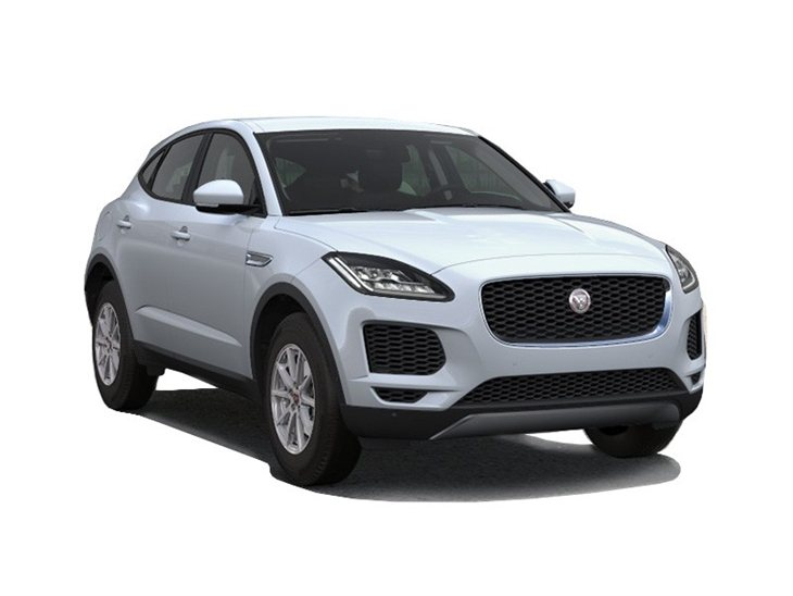white jaguar e-pace car on white background available to lease