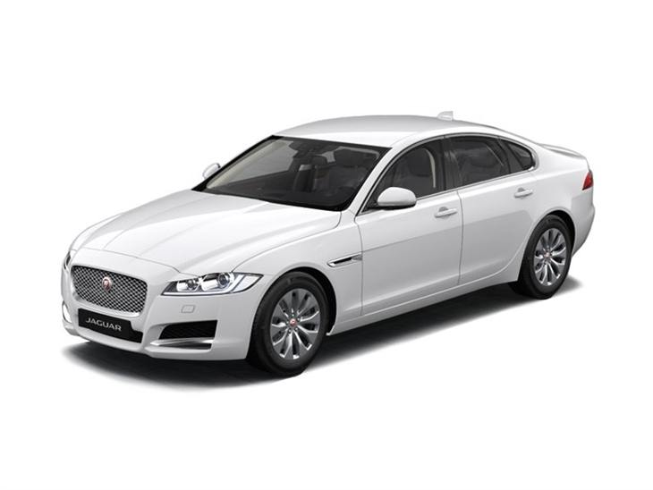 white jaguar xf porfolio car on white background available to lease