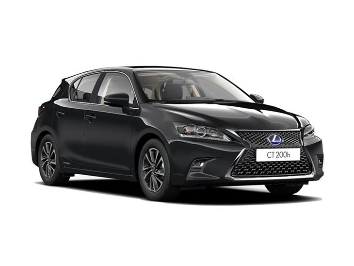black lexus ct 200h se on white background available to lease