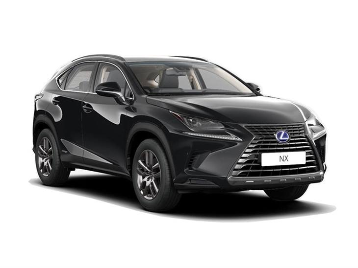 black lexus nx 300h se car on white background available to lease