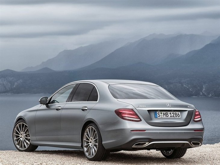 The Back of a Mercedes Benz E Class Saloon in Silver