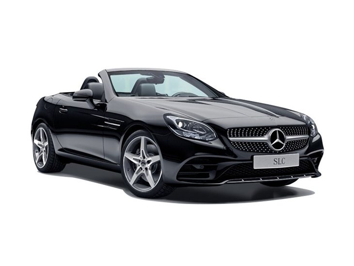 black mercedes-benz slc roadster amg line car lease on white background