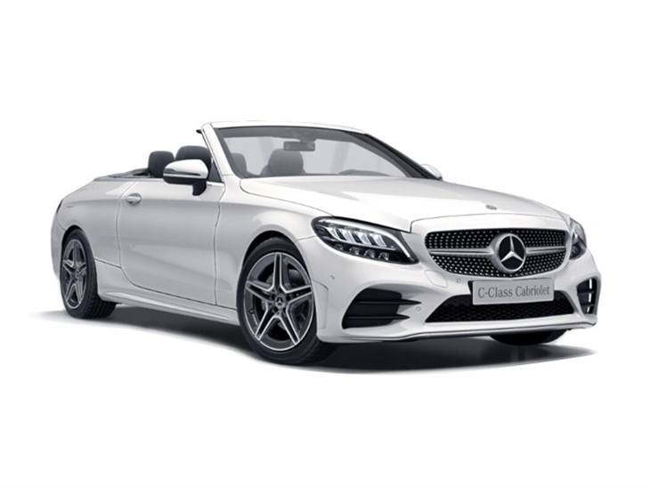 white mercedes-benz c-class cabriolet amg line 2019 car lease on white background