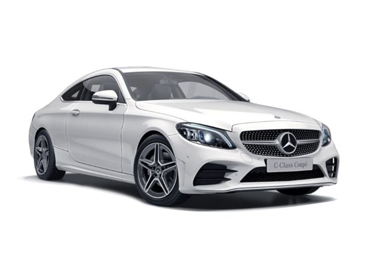 white mercedes-benz c-class coupe amg line 2019 car lease on white background