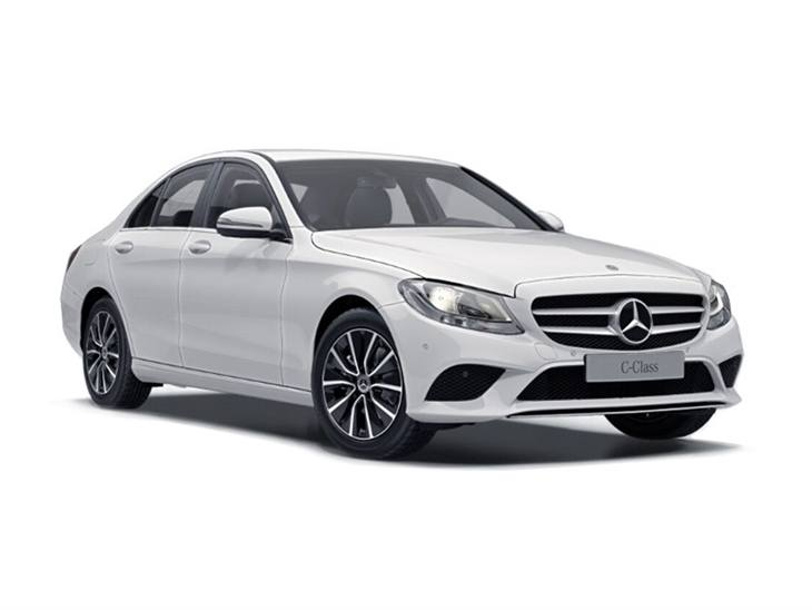white mercedes-benz c-class saloon se 2019 car lease on white background