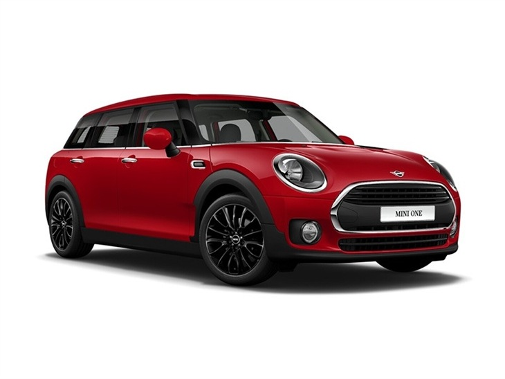 red mini clubman city car lease on white background