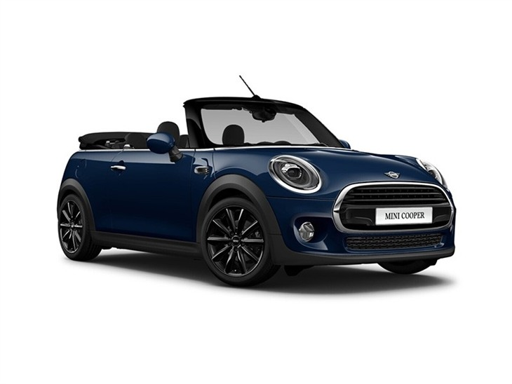 blue mini convertible cooper classic car lease on white background