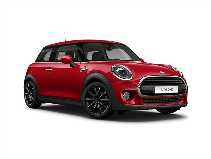 red mini hatchback 3 door classic one car lease on white background