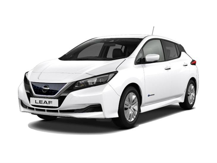 white nissan leaf visia car lease on white background