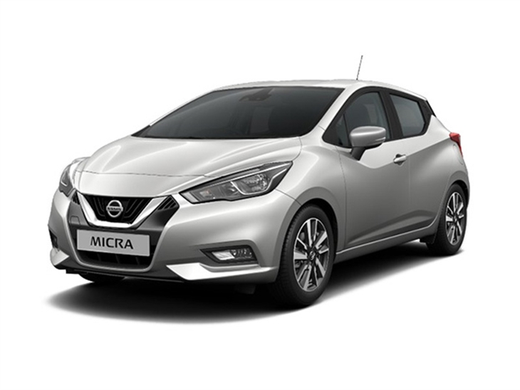 silver nissan micra accenta car lease on white background