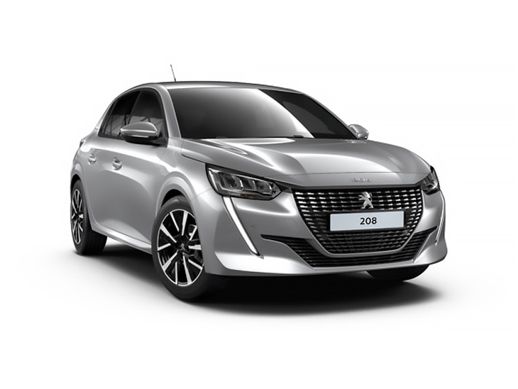 silver peugeot 208 allure car lease on white background