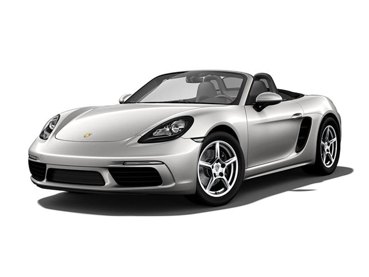 silver porsche boxster car lease on white background