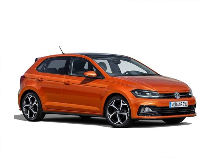 orange volkswagen polo car lease on white background