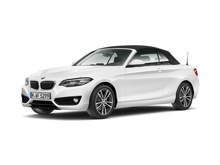 white bmw 2 series convertible sport 2019 model on white background available to lease