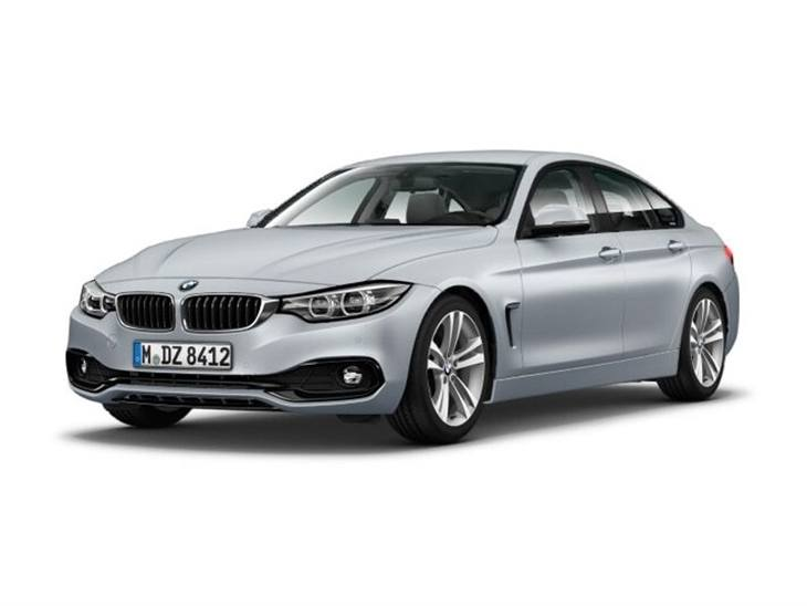 silver bmw 4 series gran coupe sport on white background available to lease