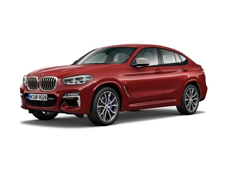 red bmw x4 m sport 2019 on white background available to lease