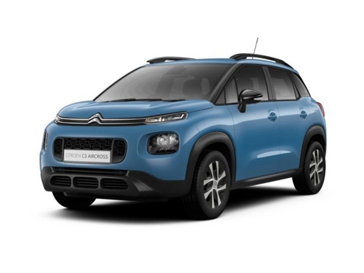 blue citroen c3 aircross touch on white background available to lease
