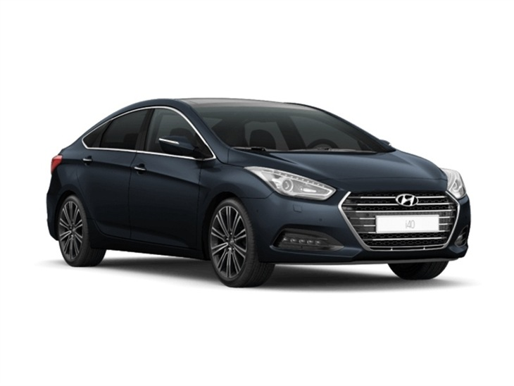 black hyundai i40 saloon on white background available to lease