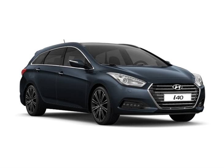 black hyundai i40 tourer on white background available to lease
