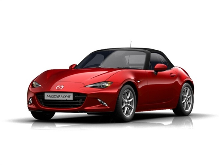 red mazda mx-5 se on white background available to lease