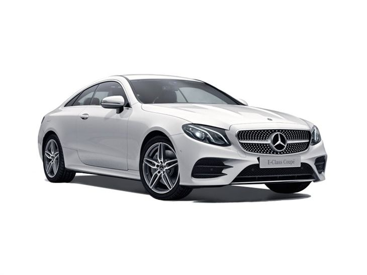 The Front of a Mercedes-Benz E Class Coupe AMG Line in White