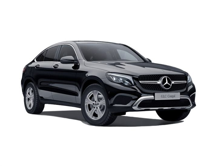 black mercedes-benz glc coupe sport car lease on white background