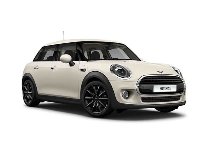 white mini hatchback 5 door one classic car lease on white background