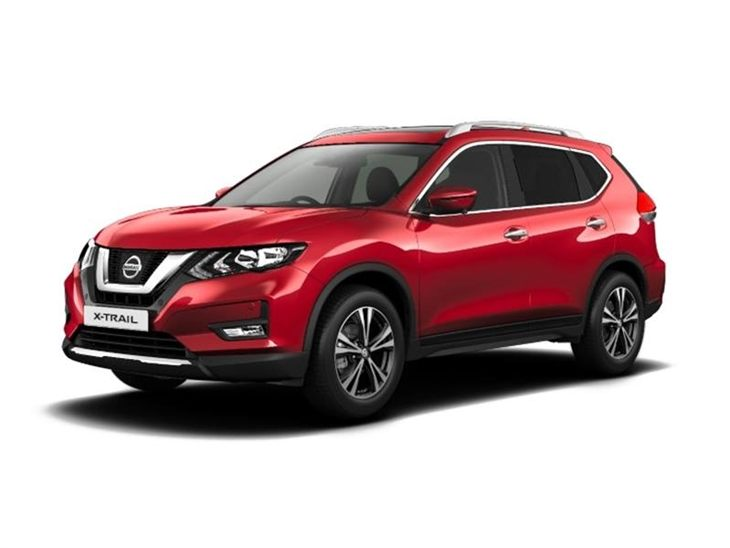 red nissan x-trail n-connecta car lease on white background