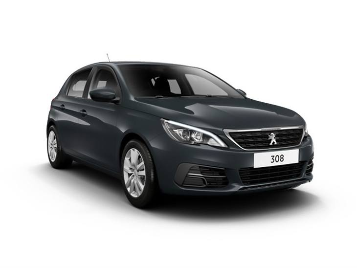 black peugeot 308 active car lease on white background