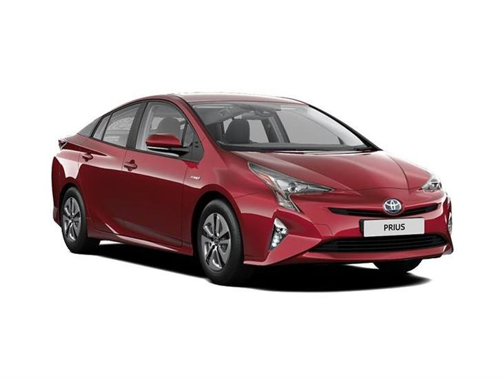 red toyota prius active car lease on white background